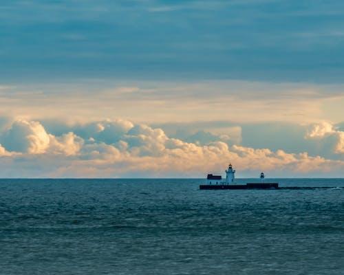 Foto stok gratis air, awan, awan kuning, biru
