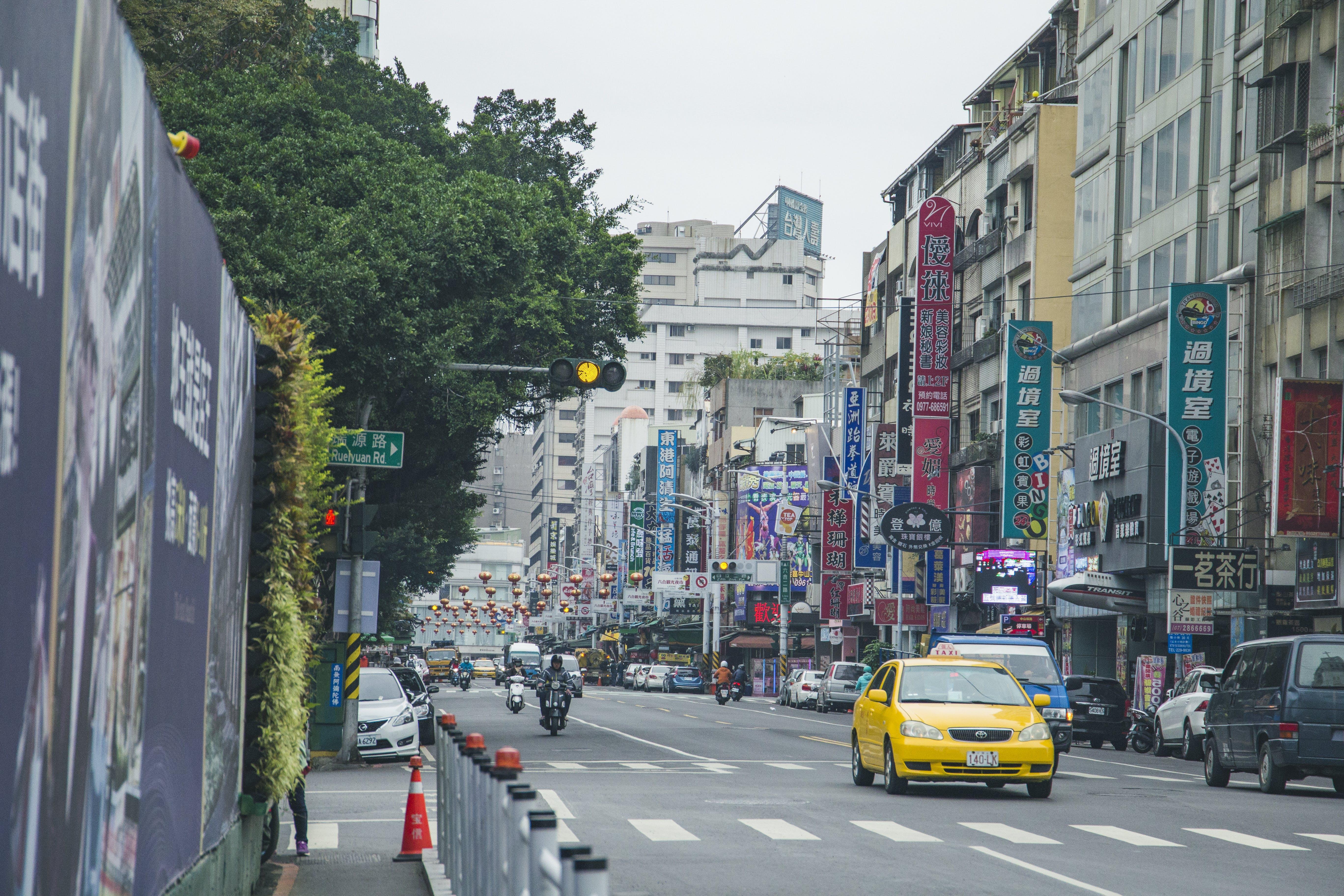 asia, buildings, cars