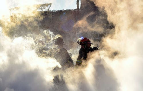 Free stock photo of fire fighter, firefighter, fog
