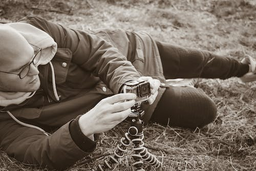 Free stock photo of black and white, camera, cameraman, forest