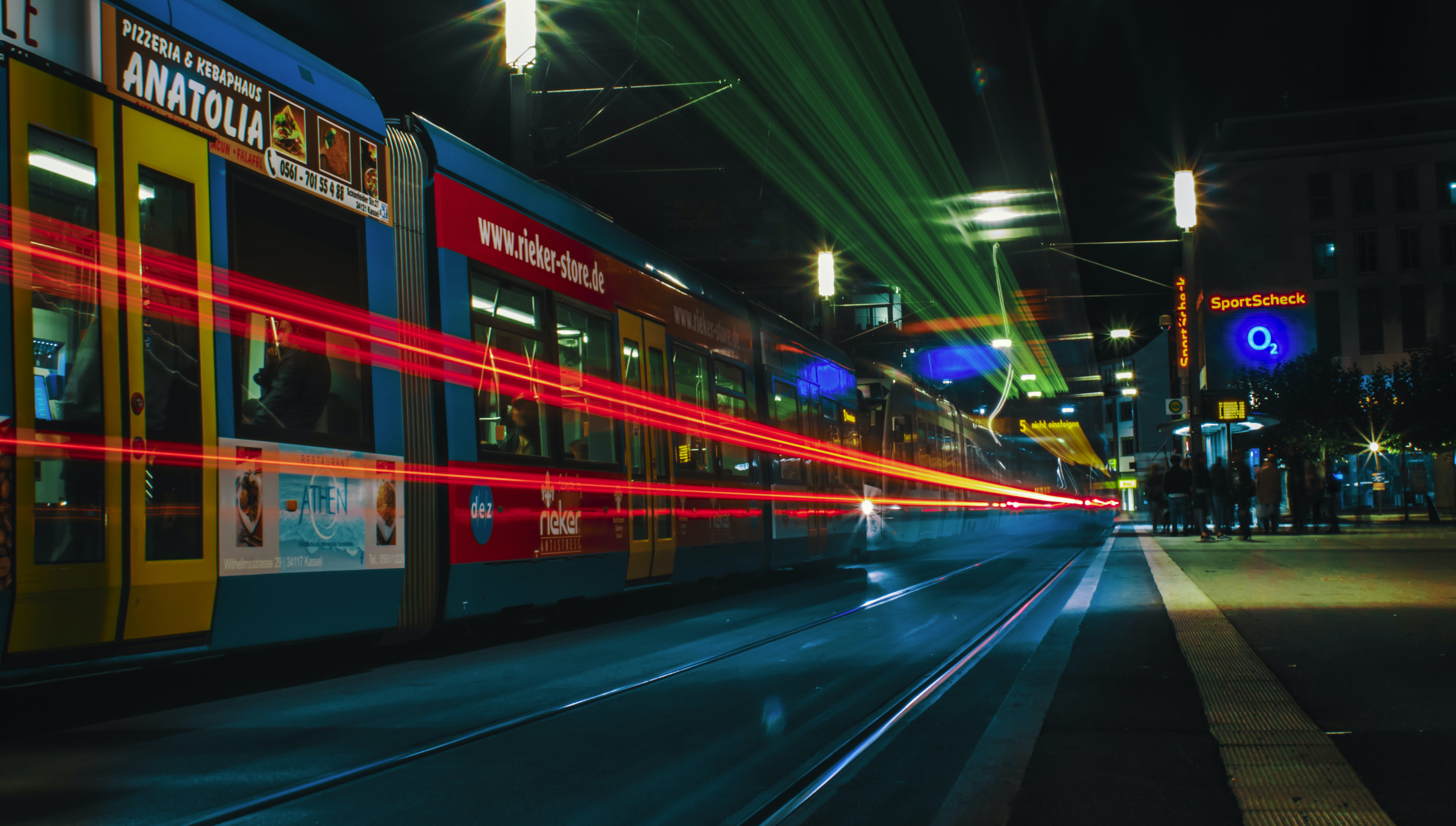 Time-Lapse Photography of Tram During Nighttime