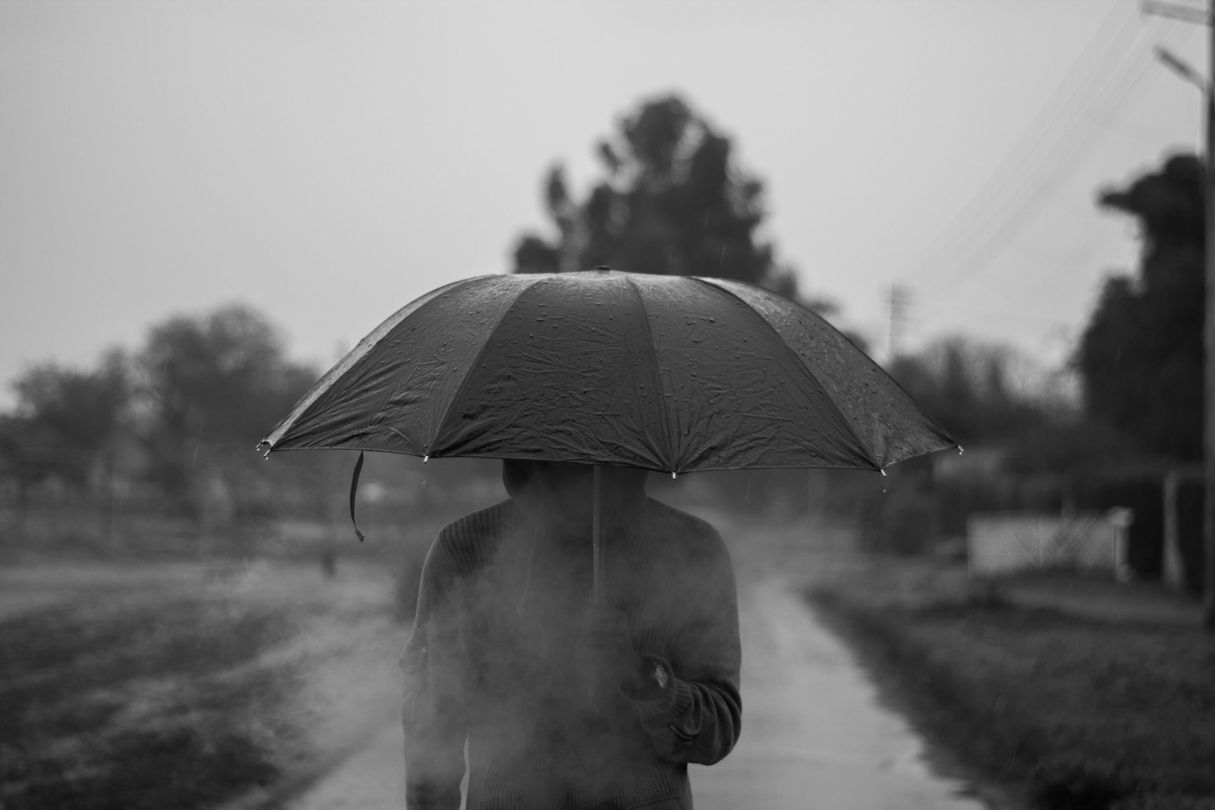 Person Wearing Hoodie Under Umbrella