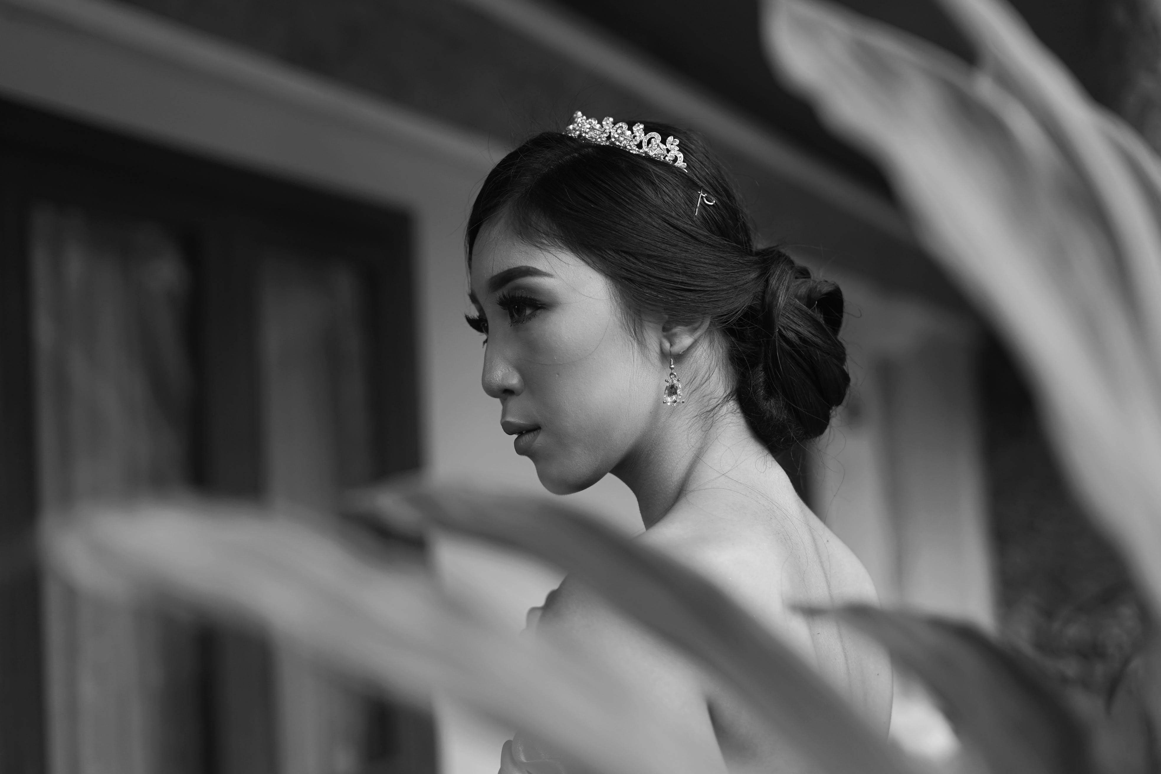 Monochrome Photo of Woman Wearing Tiara
