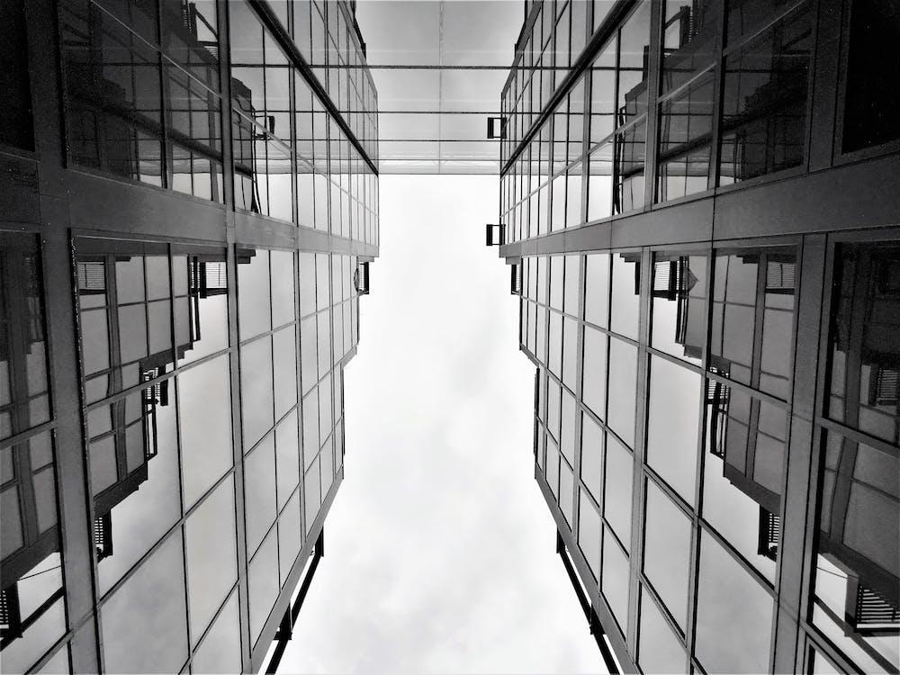 architektúra, budovy, čiernobiely