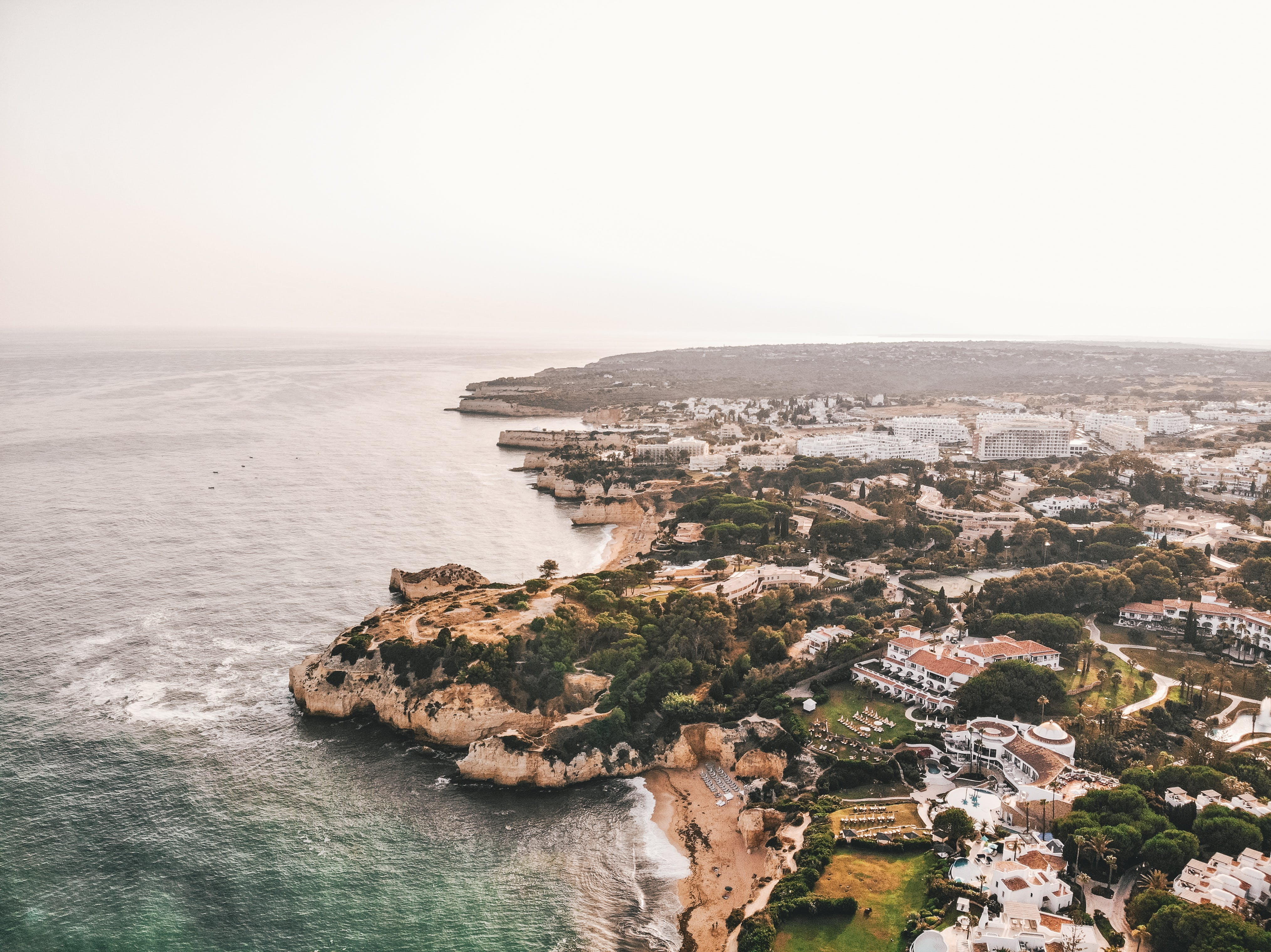 Free stock photo of coastline, drone photography, european city, negative space