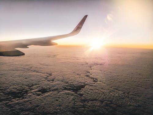 Gratis stockfoto met reizen, vliegen, vliegtuigvleugel, wolken