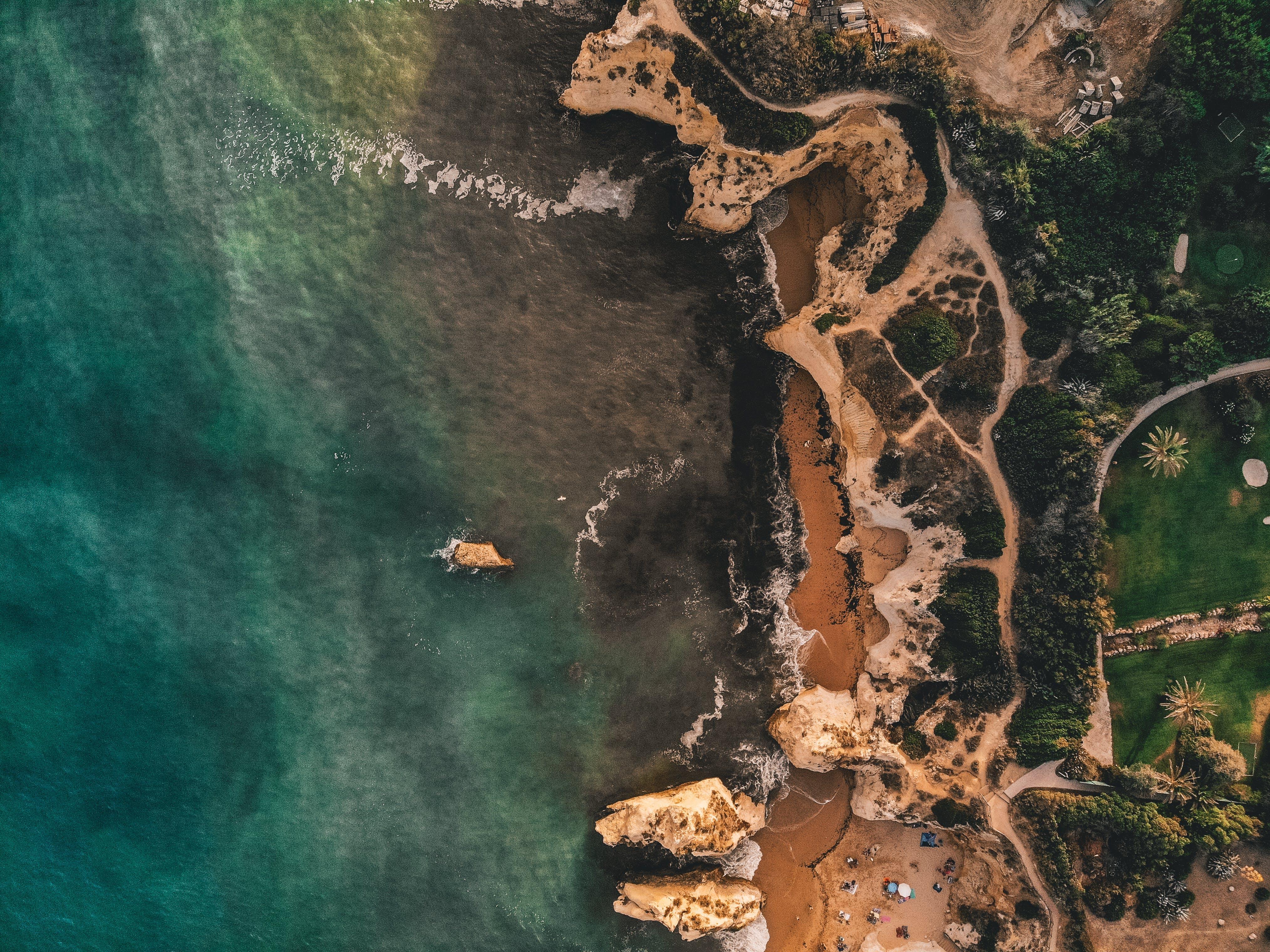 de aéreo, aerofotografia, areia, árvores