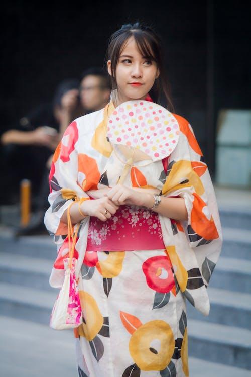 Woman Wearing Kimono Holding Fan