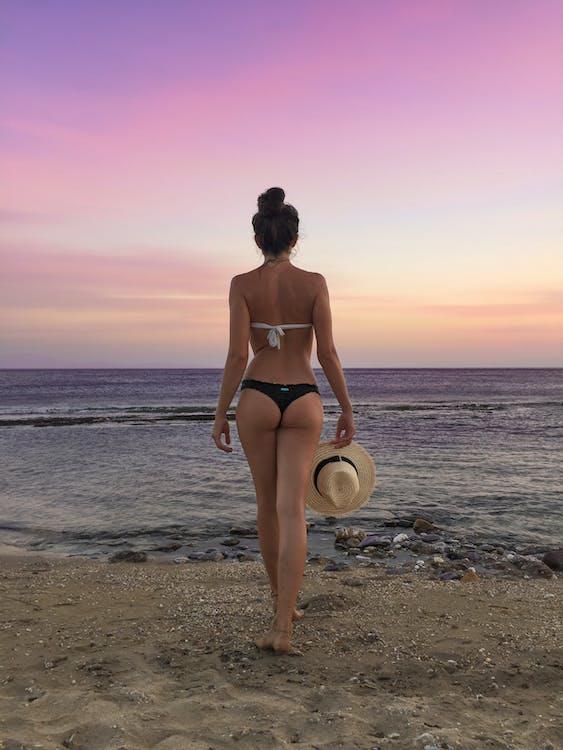 ビーチ, 女性, 日没