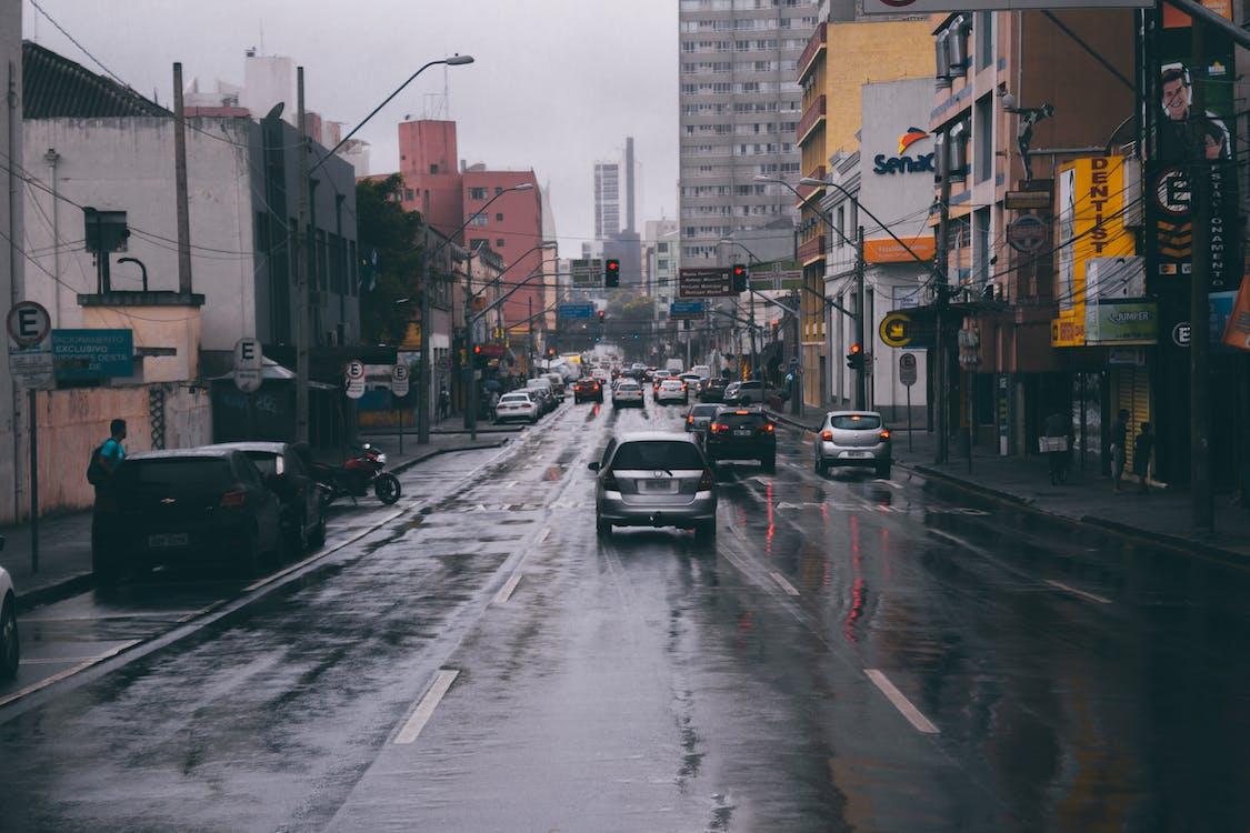 asfalt, biler, by