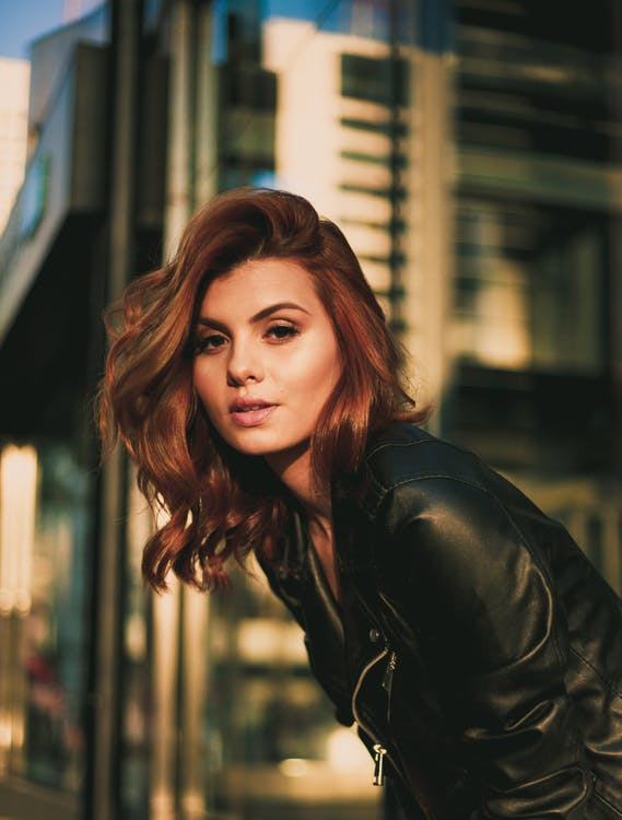 Woman Wearing Black Leather Jacket