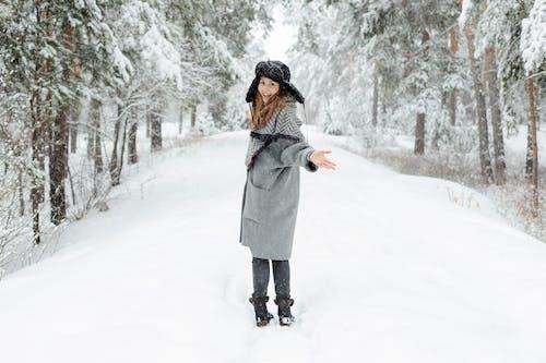 Fotobanka sbezplatnými fotkami na tému chladný, krásna žena, ľad, les