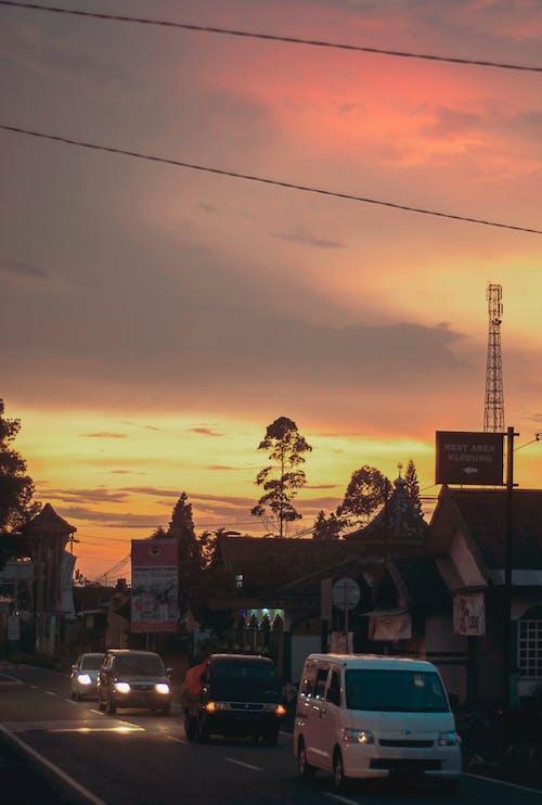 คลังภาพถ่ายฟรี ของ ตะวันลับฟ้า, ท้องฟ้าสีแดง, ภูเขา, อินโดนีเซีย