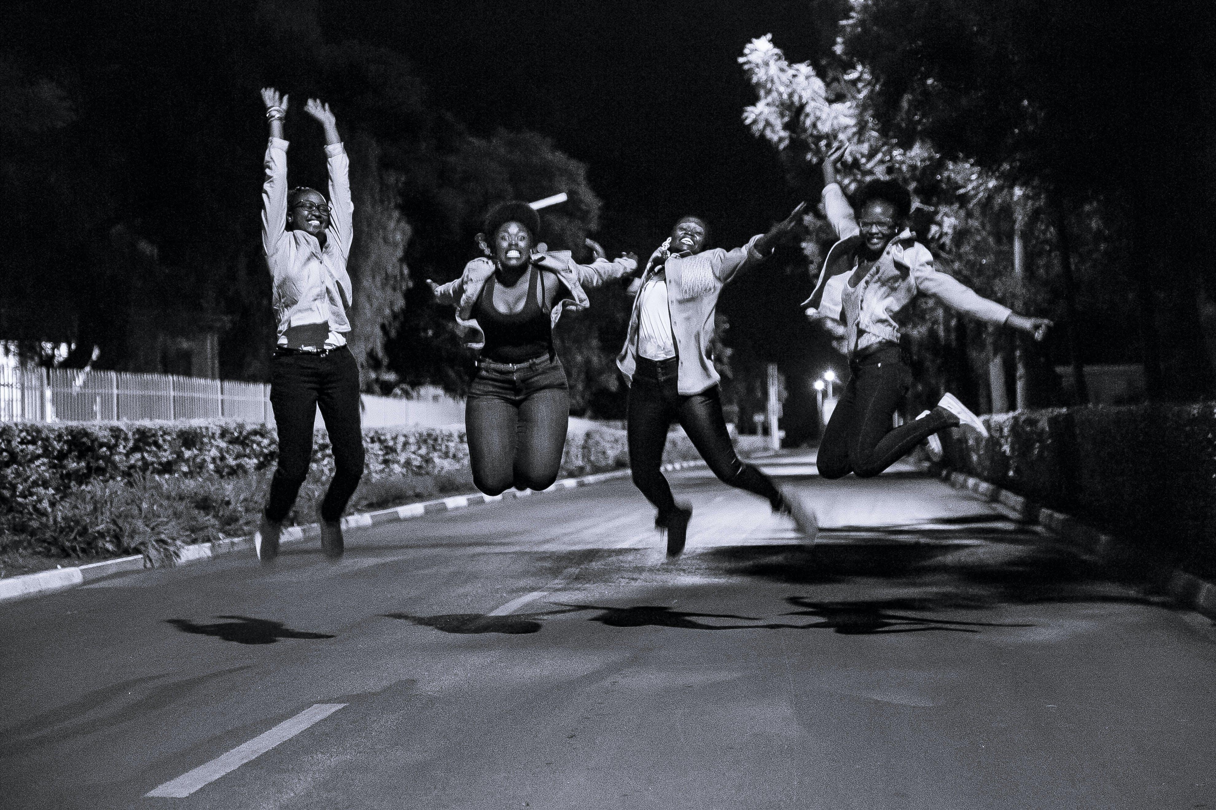 Group Of People Doing A Jump Shot \u00b7 Free Stock Photo
