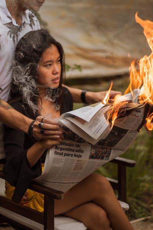 ardiente, fuego, mujer