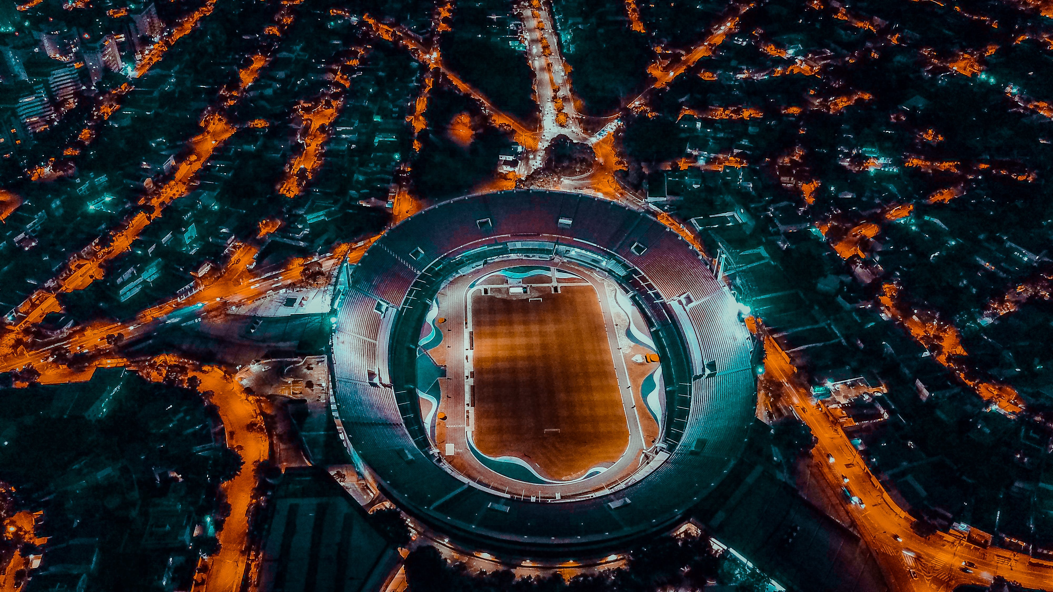 Gratis stockfoto met architectuur, avond, donker, dronefoto