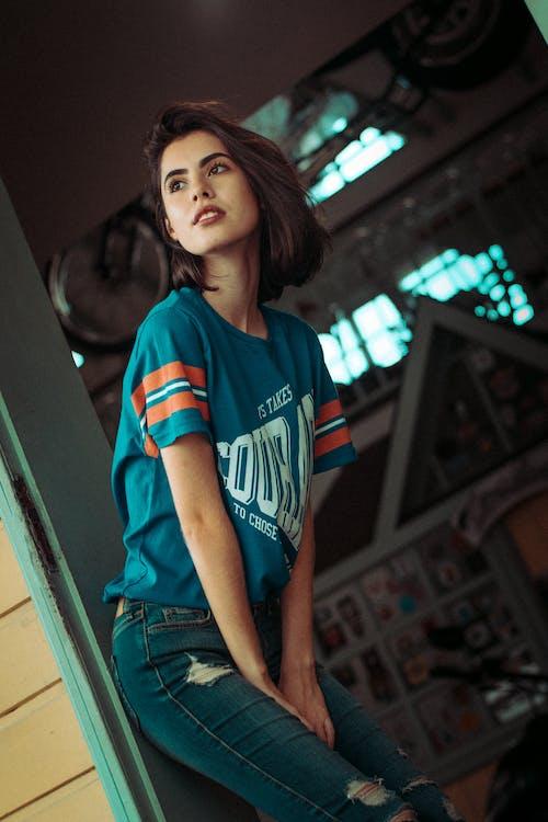 Woman Wearing Blue Crew-neck T-shirt