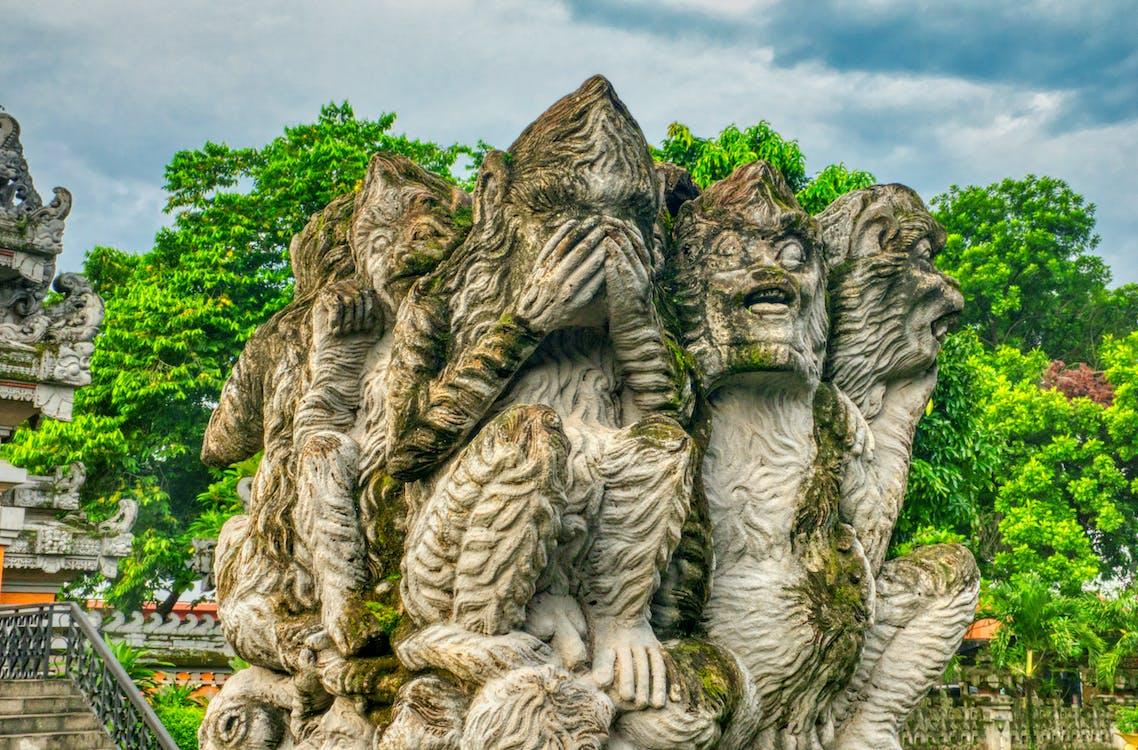 bức tượng, công viên, cục đá