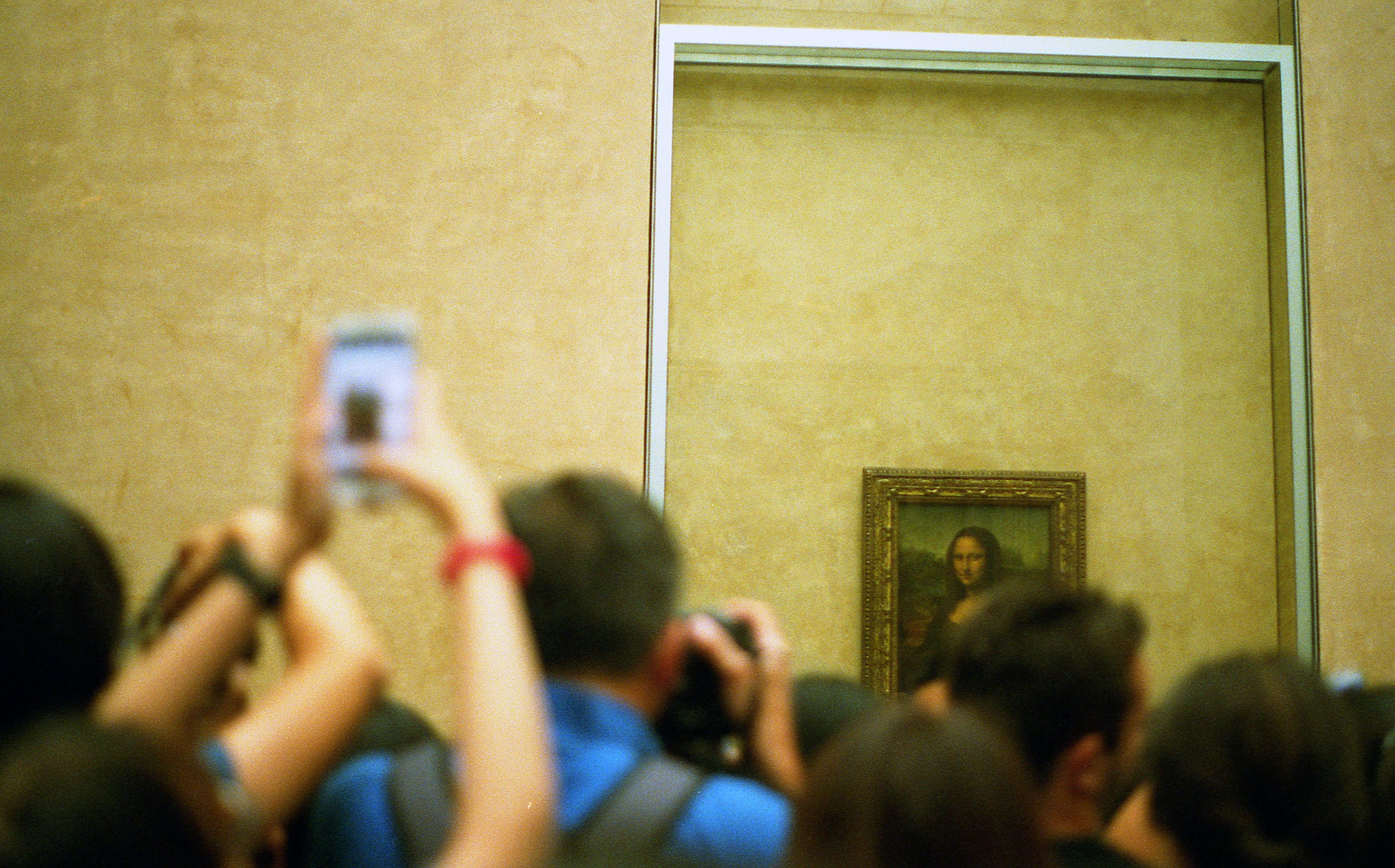 Selective Focus Photo of Group of People Taking Picture of Mona Lisa Painting