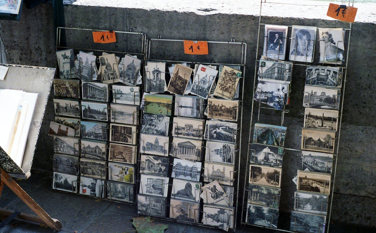 Assorted Photo Cards on Shelves