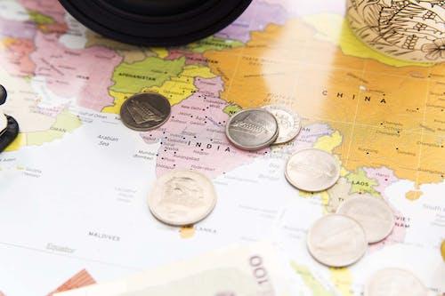 Flatlay, 印度, 地圖, 硬幣 的 免費圖庫相片