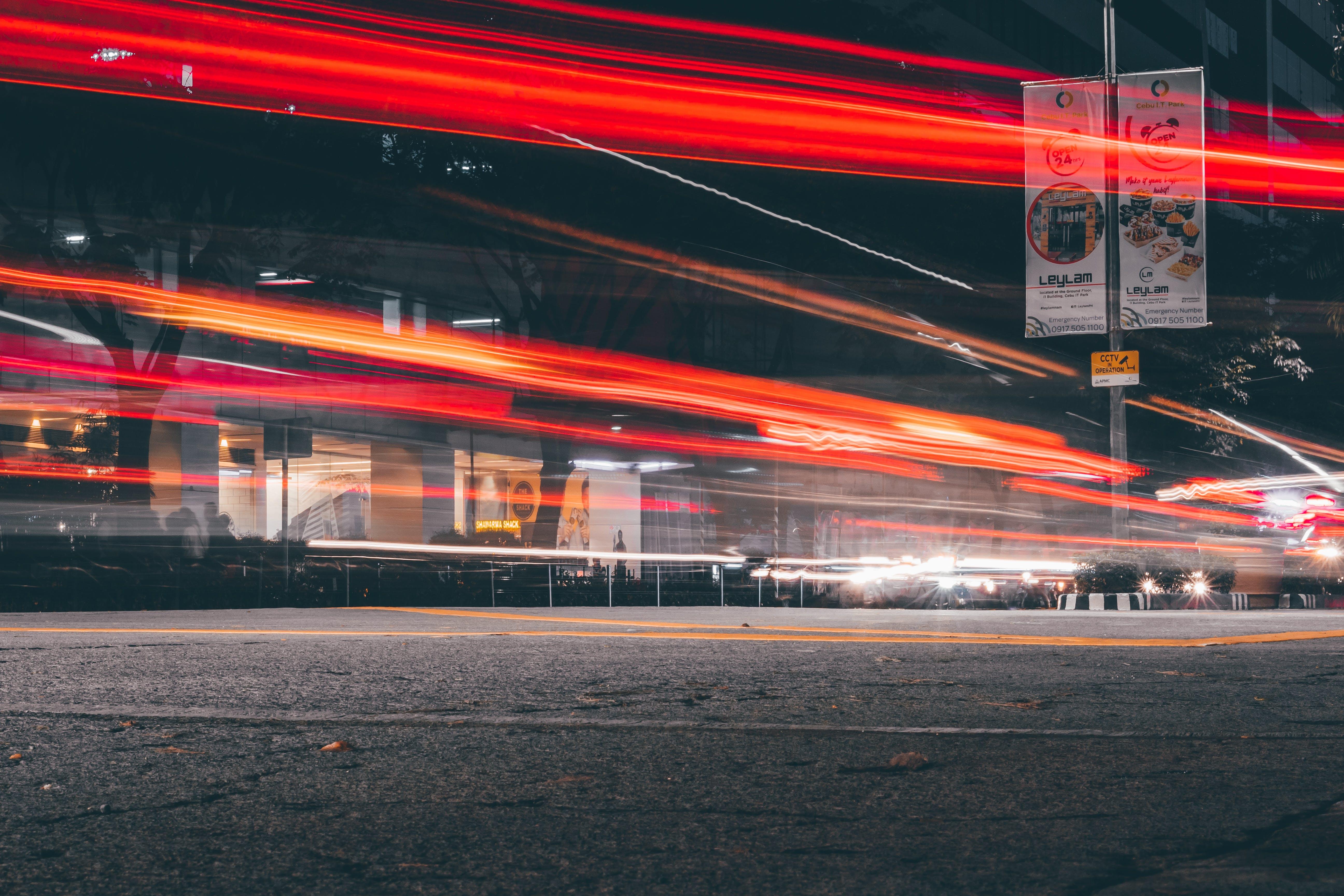 คลังภาพถ่ายฟรี ของ ตอนเย็น, ถนน, ลายเส้นแสง, เปิดรับแสงนาน