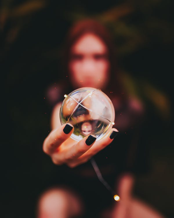 käsi, lasipallo, linssipallo