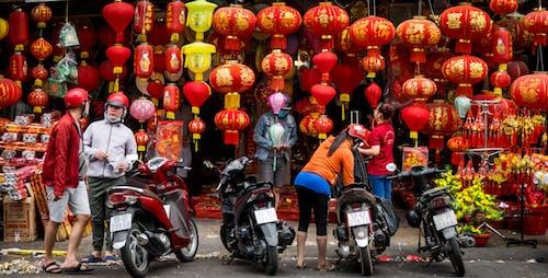 中國燈籠, 採購, 紅色 的 免费素材照片