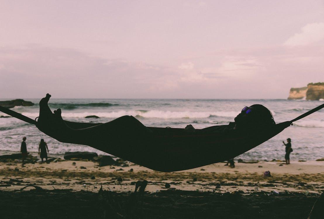 beach, hammock, man