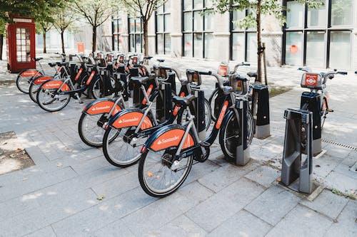 Foto profissional grátis de bicicletas, calçamento, estacionado, estacionamento para bicicletas