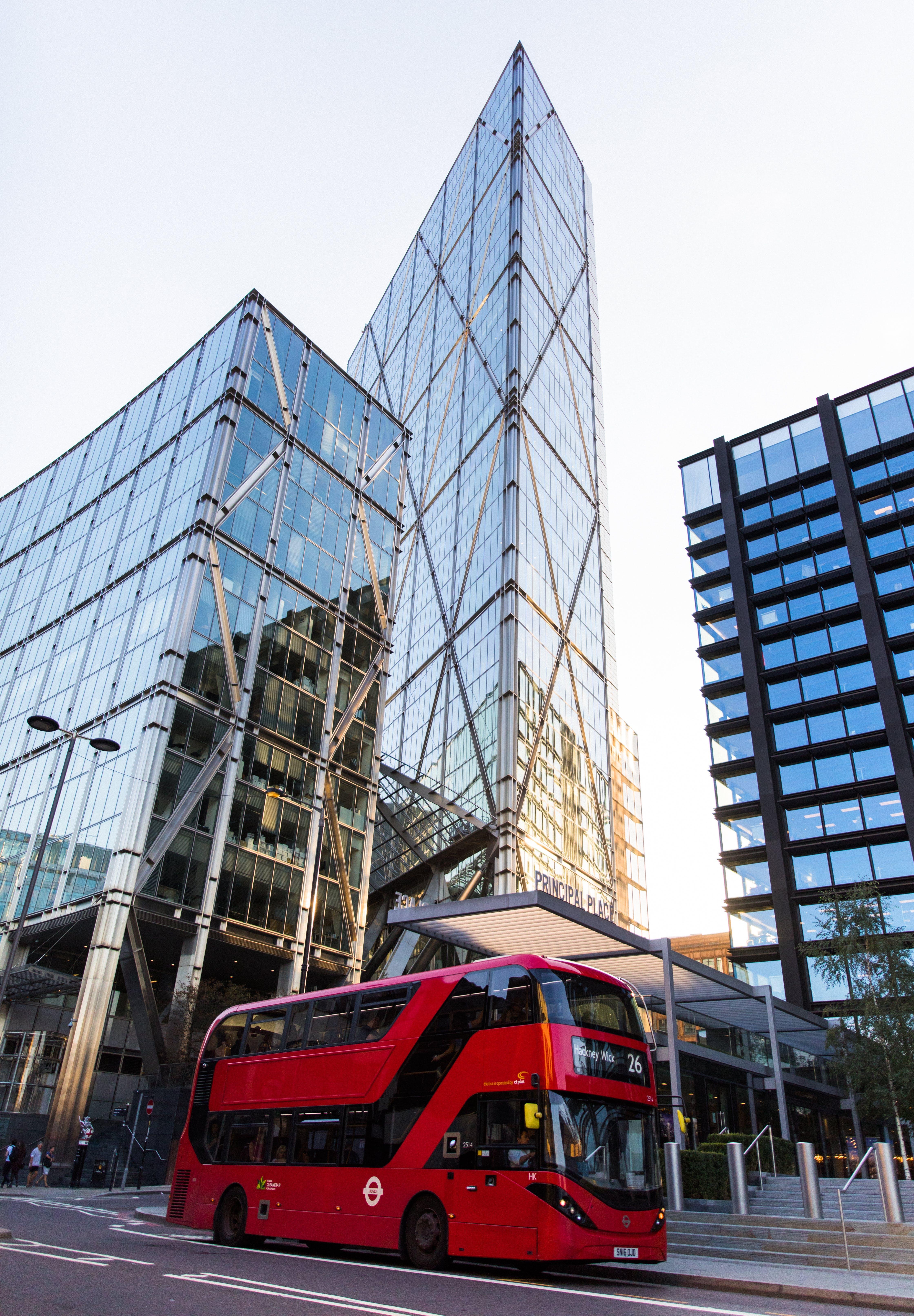 arquitectura, autobús de dos pisos, carrer