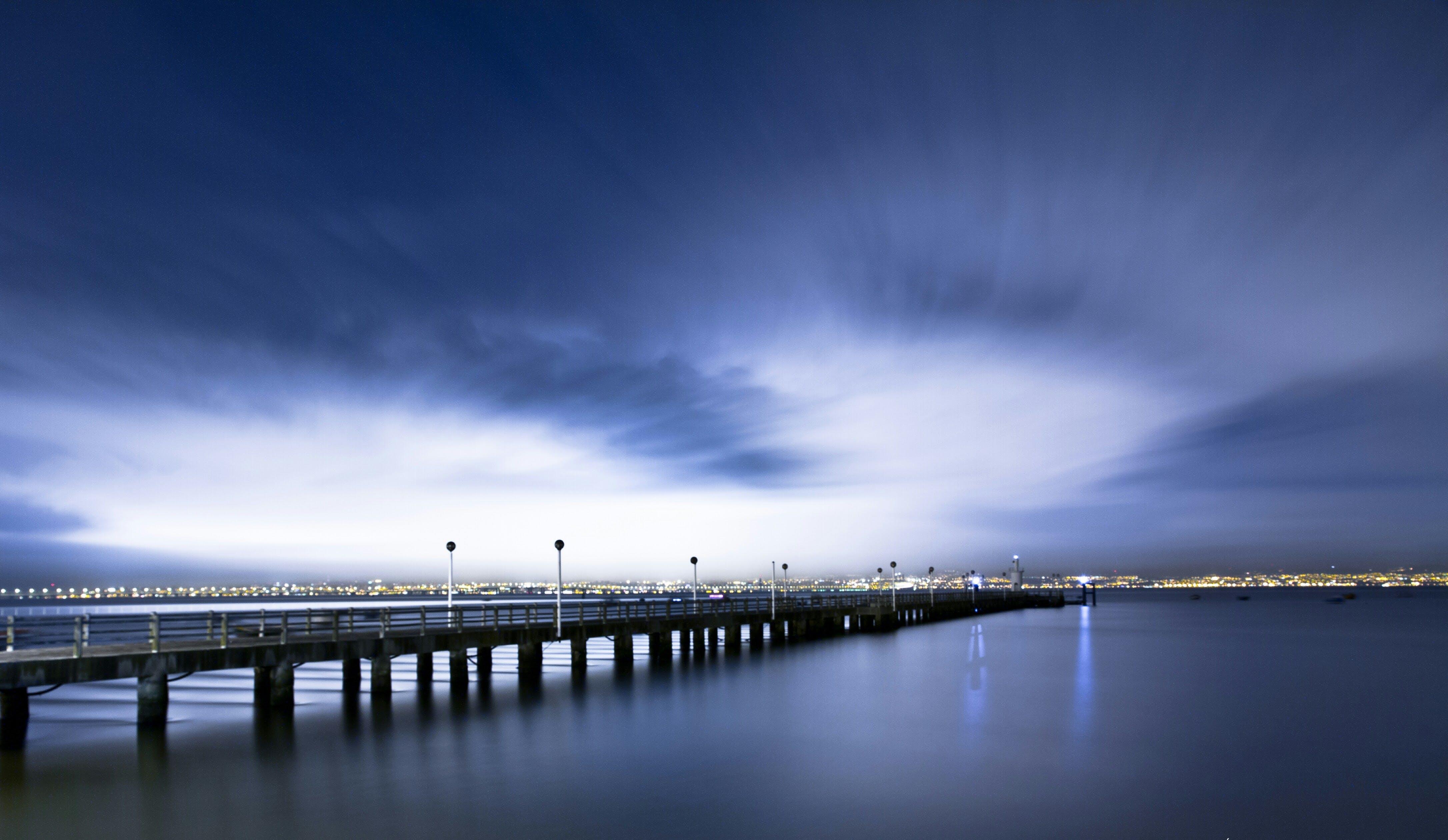 Free stock photo of blue waters, bridge, landscape, long exposure