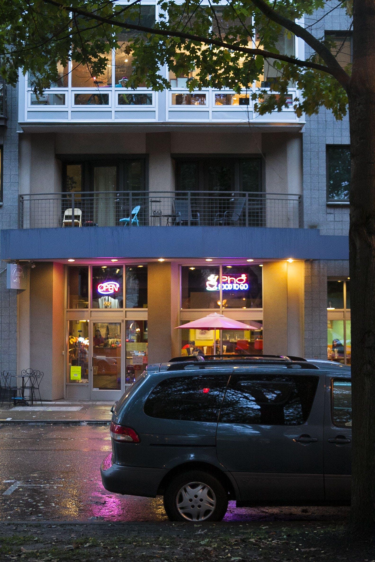 of apartment, apartment building, coffee shop, Portland