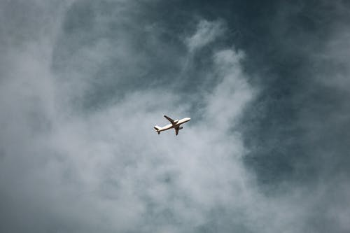 White Plane on Air Under Cloudy Sky