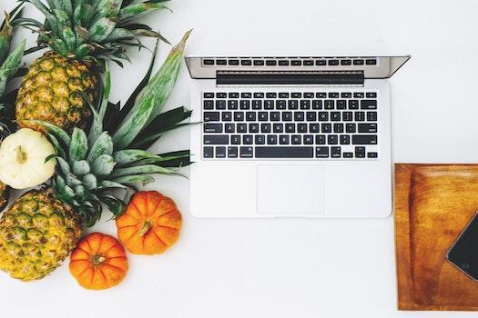 White Macbook Near Pineapple and Pumpkin