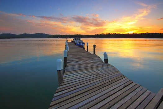 Wooden Dock at Sunset View
