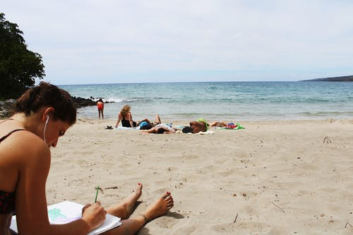Free stock photo of beach, reading