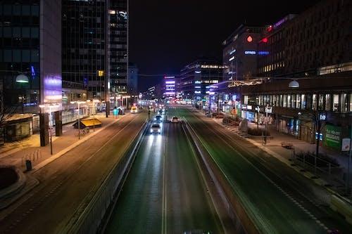 城市, 晚上, 汽車, 街 的 免费素材照片