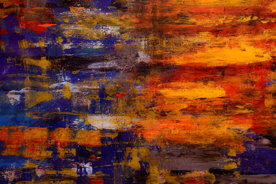 Blue and Orange Abstract Art