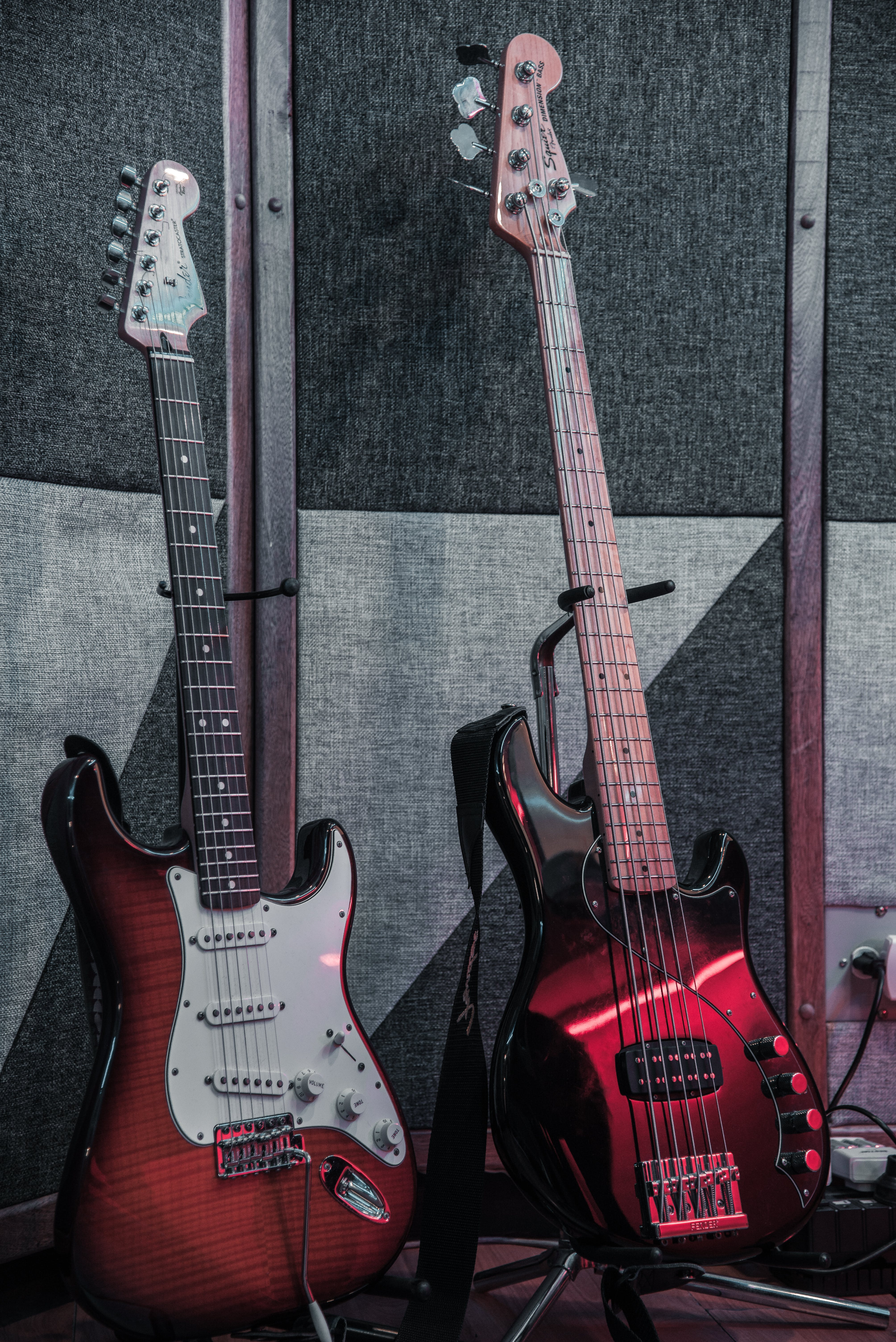 Photo of Electric Guitars On Guitar Stand
