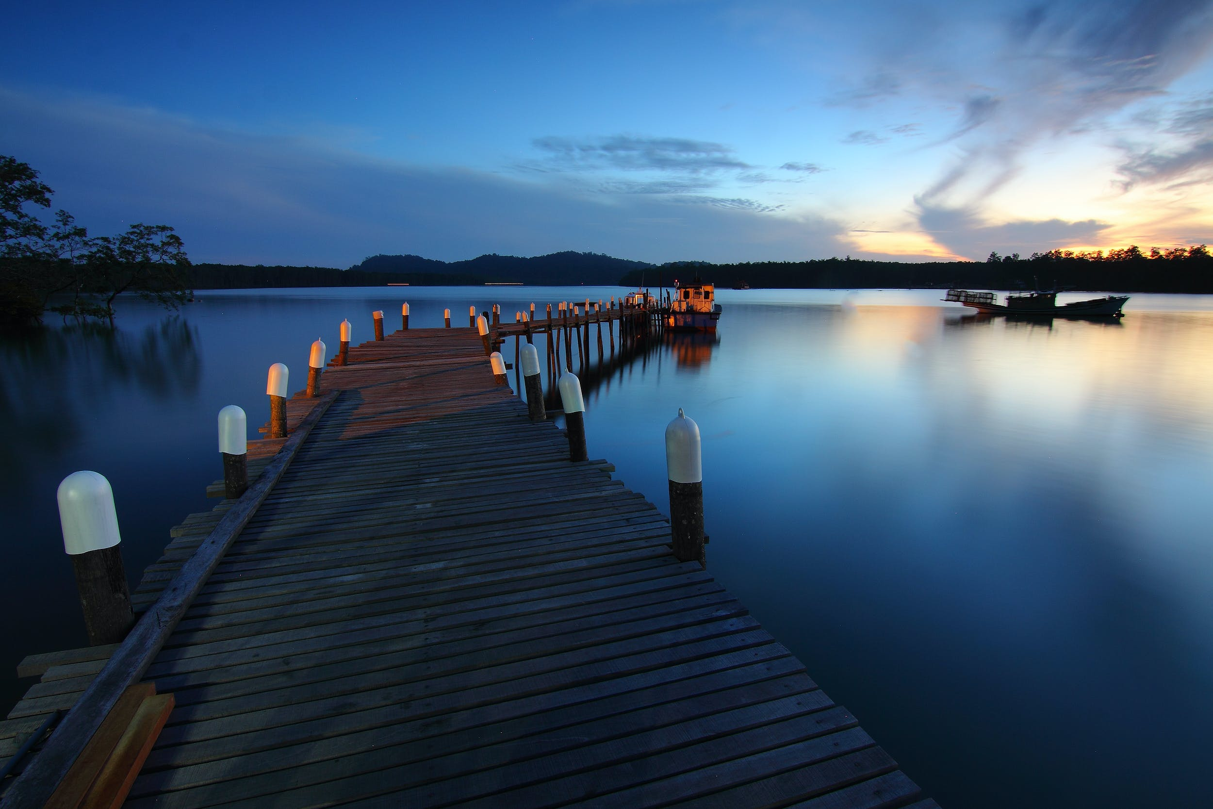 boat, calm waters, dawn