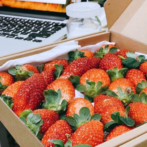 Foto profissional grátis de fruta, fruta fresca, morango, morangos em caixa