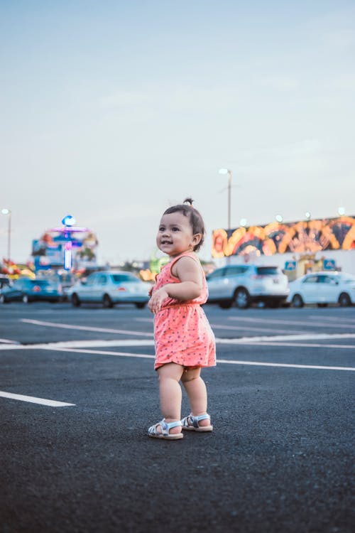 Toddler Standing on Open Area