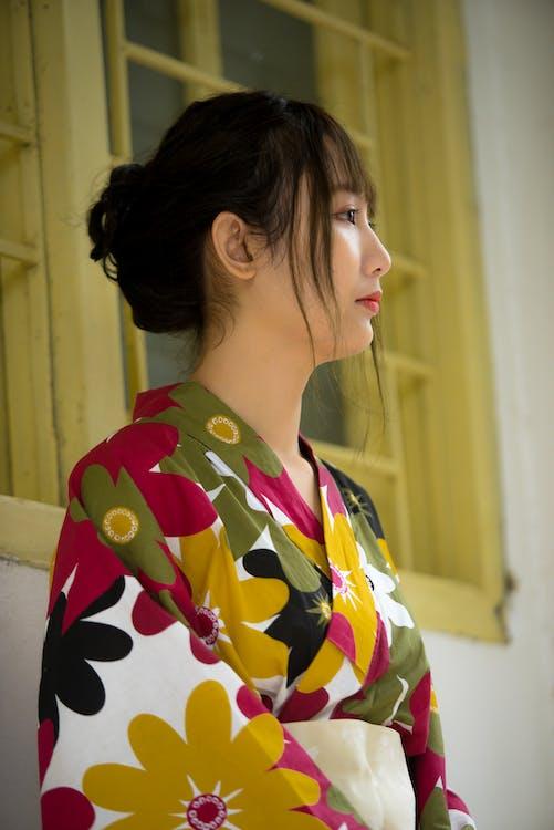 азиатка, вид сбоку, женщина