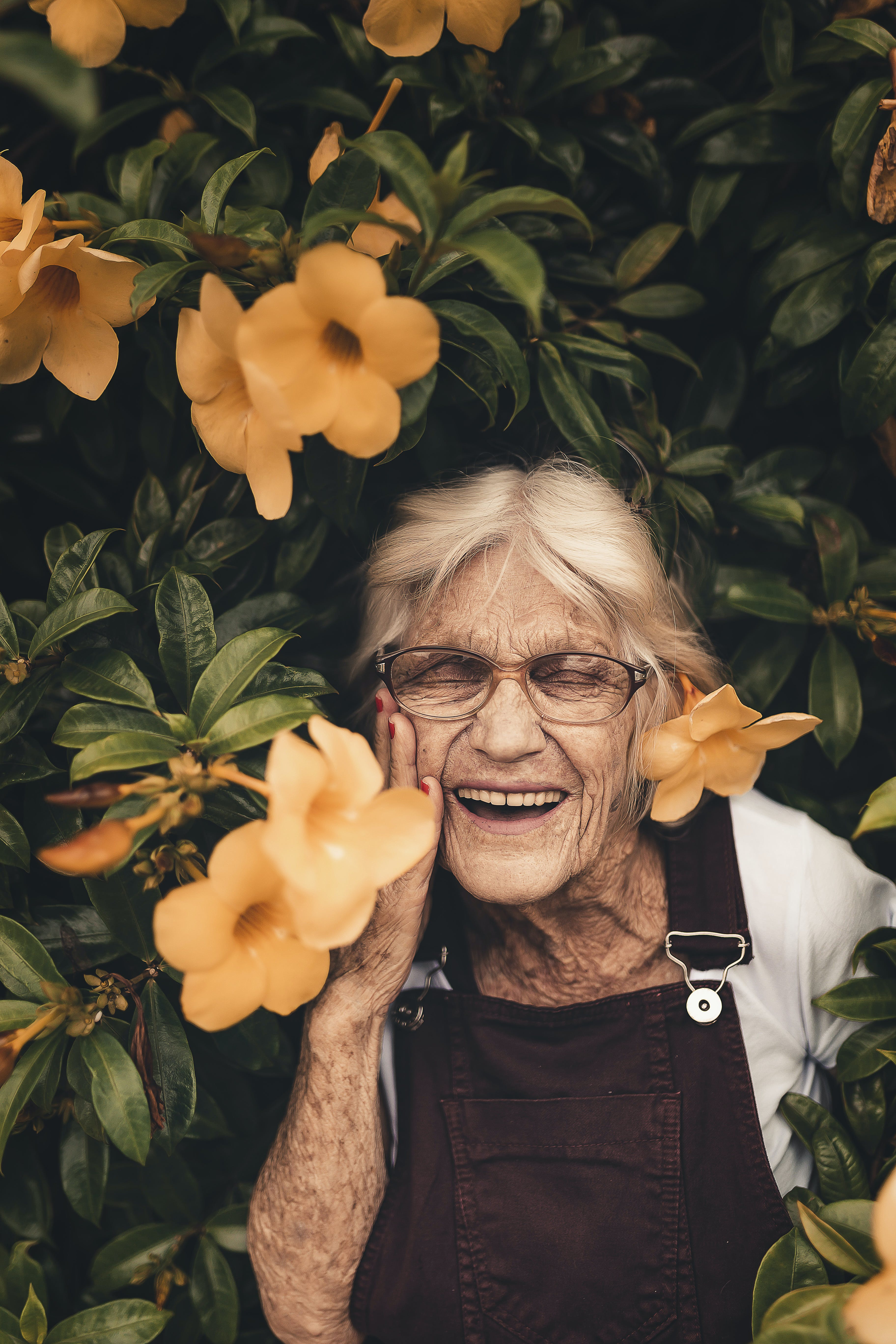Gratis lagerfoto af alderdom, ansigtsudtryk, bedstemor, blomster