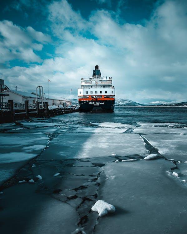 bateau, embarcation, gelé