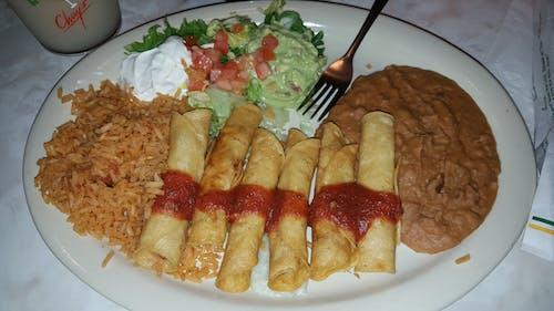 Free stock photo of beans, dinner, flautas, guacamole