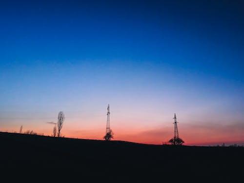 Foto stok gratis biru, matahari terbenam