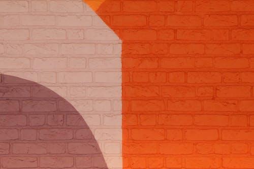 Δωρεάν στοκ φωτογραφιών με ζωγραφισμένο τοίχο, πολύχρωμος, πορτοκάλι, τοίχος από τούβλα