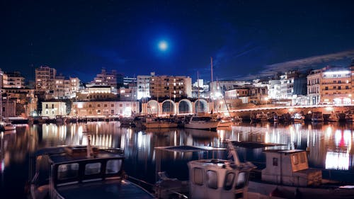 Fotos de stock gratuitas de alunizaje, barcos, fotografía nocturna, paleta de color